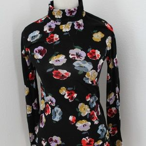 Ann Taylor Floral Black Turtleneck Small EUC